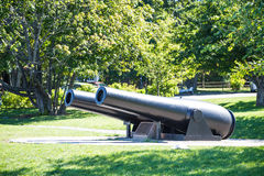 Two Old Iron Cannons in Maine Park Stock Photos