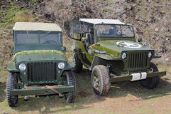 Two old Jeeps Stock Images