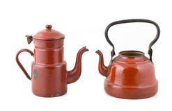 Two old kettles. Stock Images
