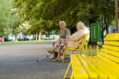 Two old ladies in the park Royalty Free Stock Image