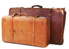 Two old leather suitcases royalty free stock photo