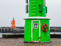 Two old lighthouses in a foggy day, Helsingor, Denmark Royalty Free Stock Images