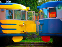 Two old locomotive parked on railroad tracks Royalty Free Stock Image