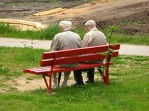 Two Old Man Sitting On The Bench Royalty Free Stock Photos