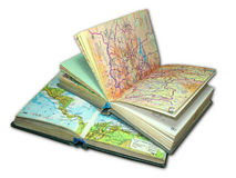 Two old map atlas books isolated Royalty Free Stock Photos