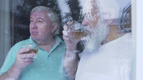 Two old men drinking alcohol whiskey standing near the window at home. Caucasian old men neighbors friends enjoying time. Together indoors. Leisure of the stock video