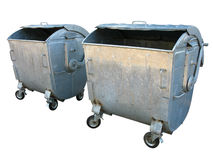 Two old metal garbage trash containers Royalty Free Stock Photography