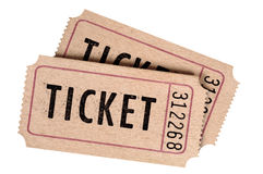 Two old movie tickets. Isolated on a white background Stock Images