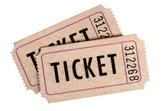 Two old movie tickets isolated on a white background. Stock Image