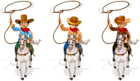 Two old and one young cowboys. Illustration of the two old and one young cowboys on a white background Stock Images