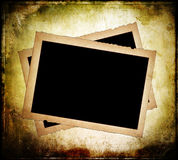 Two old paper frames with frayed edges. On dirty background Stock Image