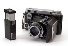 Two old photo cameras Stock Images