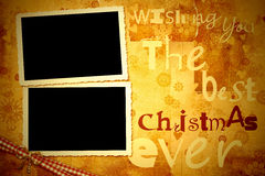 Two old photo frames Christmas card Royalty Free Stock Images
