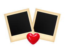 Two old photo papers card and red heart isolated on white Royalty Free Stock Image