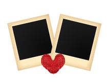 Two old photo papers card and textile red heart isolated Stock Photography