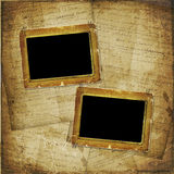 Two Old photoframe on the  abstract background Royalty Free Stock Image
