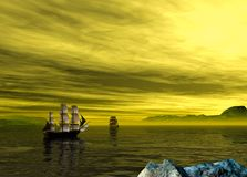 Two old pirate ship in a yellow sunset scenery. 3d rendering stock illustration