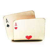 Two Old Poker Cards Stock Photos