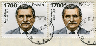 Two old post stamps with Lech Walesa portrait Royalty Free Stock Photo