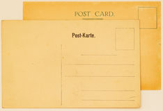 Two old postal cards for placing messages and addresses. Backside. Paper texture. With place your text, background use. Old postal cards for placing messages and Royalty Free Stock Image