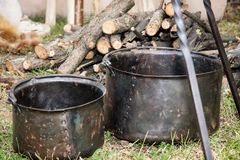 Two old pots for cooking on camping Royalty Free Stock Photos