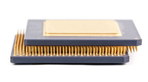 Two old processor with the gold contact Royalty Free Stock Photo