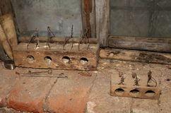 Two old rat traps. Made of worm-eaten wood Stock Photography