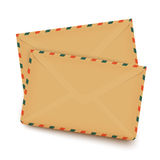 Two old retro envelopes isolated on white Royalty Free Stock Photo