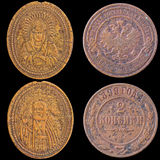 Two Old Russian Coins on a Black Background. Stock Photography