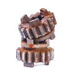 Two old rusted and dusted cogwheels isolated Stock Images