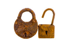 Two old rusted lock isolated on white Royalty Free Stock Photos