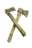 Two old rusty axes. On a white background Royalty Free Stock Images