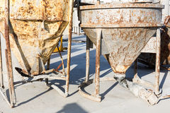 Two old rusty concrete mixers Royalty Free Stock Photography