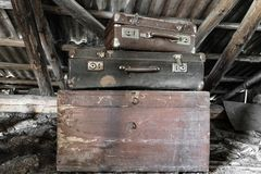 Two Old, Rusty, Dusty And Dirty Suitcases Lying On The Brown Chest In Attic Royalty Free Stock Photo