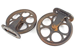 Two old rusty pulley Stock Images