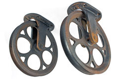 Two old rusty pulley Stock Photography
