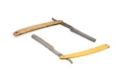 Two old rusty razors isolated Stock Photography
