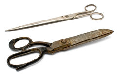 Two old rusty sewing scissors Stock Photo