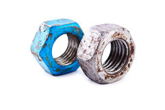Two old rusty steel screw-nut Royalty Free Stock Images