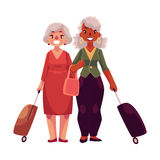 Two old, senior, elder women with suitcases in airport Stock Images
