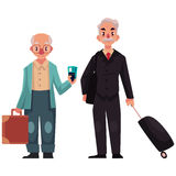 Two old, senior men with suitcases in airport Royalty Free Stock Image