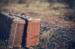 Two old shabby suitcases Stock Image