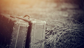 Two old shabby suitcases Royalty Free Stock Photography