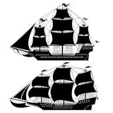Two old ship. There are two old ship silhouette Stock Images