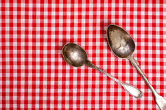 Two old silver spoons Royalty Free Stock Image