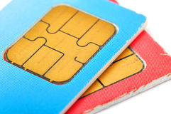 Two old sim cards Royalty Free Stock Images