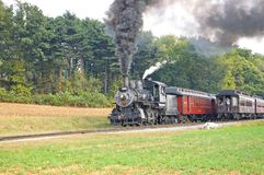Two old steam trains passing Royalty Free Stock Photo