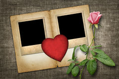 Two old-style photo  with red paper heart with pink rose Royalty Free Stock Images