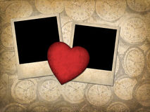 Two old-style photo  with red paper heart Royalty Free Stock Images
