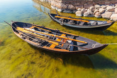 Two old Swedish fishing boats. Two old wooden Swedish fishing boats on the island of Oland Royalty Free Stock Photo